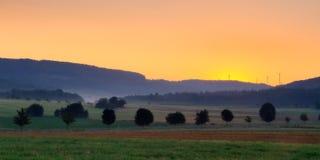Foggy Morning Landscape Stock Photo