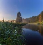 Foggy morning. Leningrad region. Russia Stock Image