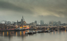 Foggy morning in London. View over London at foggy day St Pauls Cathedral Royalty Free Stock Photo