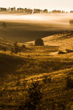 Foggy morning on meadow. sunrise landscape. Russia, summer Royalty Free Stock Photo