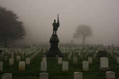 Foggy morning in military cemetery in San Francisco stock photo