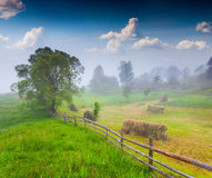 Foggy morning in mountain village. Royalty Free Stock Image