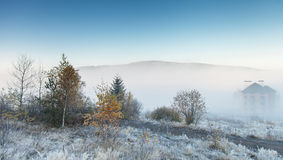 Foggy morning in the mountains Stock Photography