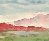 Foggy morning in the mountains. Watercolor painting Royalty Free Stock Photo