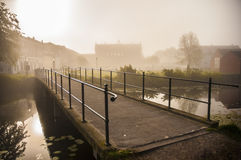 Foggy morning. In Nyborg, Denmark Royalty Free Stock Photography