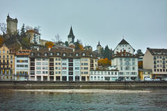 Foggy morning at old town and The Reuss River in of Luzerne, Switzerland Royalty Free Stock Photo