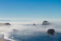 Foggy morning, Oregon coast Stock Images