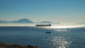 Foggy morning over Mediterranean Sea at Naples Stock Image