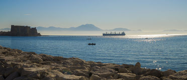 Foggy morning over Mediterranean Sea at Naples Royalty Free Stock Image