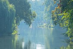 Foggy Morning Over The Canal In The Park In Zagan. Royalty Free Stock Photo