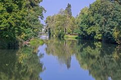Foggy Morning Over The Canal In The Park In Zagan. Royalty Free Stock Images