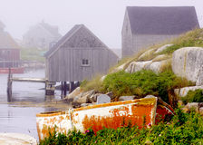 Foggy Morning - Peggy S Cove, Nova Scotia Stock Image