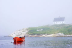 Red Boat - Peggys Cove, Nova Scotia Royalty Free Stock Photography