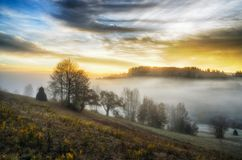Morning. a picturesque autumn dawn in the Carpathian Mountains Royalty Free Stock Photography