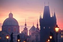 Foggy morning in Prague Stock Photos