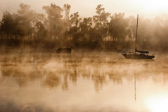 Foggy morning on a river Royalty Free Stock Photo