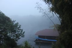 Foggy morning on the river Stock Photo