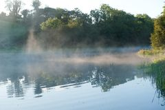 Foggy morning on the river Erne. Co. Cavan, Ireland Royalty Free Stock Image