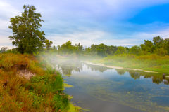 Foggy morning on river Royalty Free Stock Photo