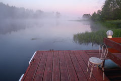 Foggy morning on the river Stock Image