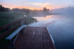 Foggy morning on the river Stock Photos