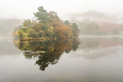 Foggy Morning At Rydal Water In The Lake District, UK. Royalty Free Stock Photography