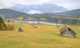 Foggy morning scenery of Lake Geroldsee in autumn Royalty Free Stock Photos