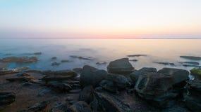 Foggy morning on sea Stock Photo