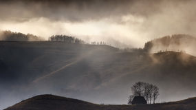Foggy morning at sheepherders hut Stock Photography