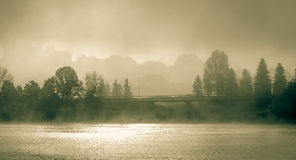Foggy morning on the Sir John Macdonald Parkway also known as the Ottawa River Parkway. Royalty Free Stock Photography