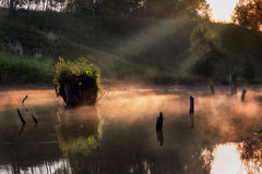 Foggy morning on a small river in russia. Royalty Free Stock Photo
