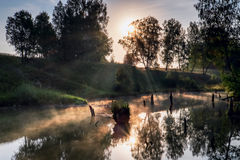 Foggy morning on a small river in russia. Stock Images
