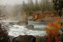 Foggy morning on spokane river Royalty Free Stock Photo