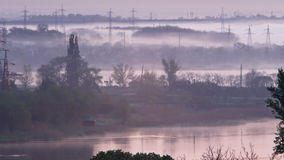 Foggy morning suburban river stock video
