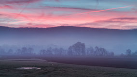Foggy Morning Sunrise in Bavaria Stock Photography