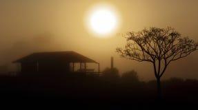 Foggy morning sunrise rural landscape Royalty Free Stock Photo