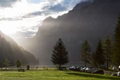 Foggy morning in camping on the shore of the lake. Swiss Alps Stock Image