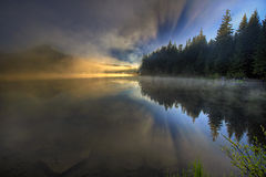 Foggy Morning at Trillium Lake Stock Photography