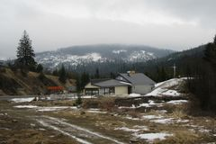 Foggy morning in the Ukrainian Carpathian Mountains. 2018. stock photography