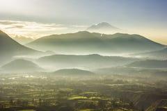 Foggy morning view of volcan Cayambe en ecuador Royalty Free Stock Photo