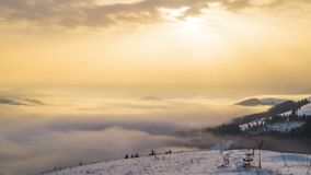 Foggy Morning in the Winter Mountains stock video footage