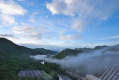 Foggy on the mountain. Scenic point of the dam in the morning and foggy on the mountain Royalty Free Stock Photography