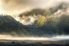 Foggy mountain. Morning scenery on foggy mountain bromo indonesia Stock Image