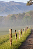 Foggy Mountain Fence line Stock Photo
