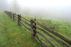 Foggy Mountain Fence Line Royalty Free Stock Image