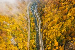 Foggy mountain highway in the middle of the forest on a cold autumn morning royalty free stock image