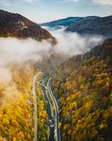 Foggy mountain highway in the middle of the forest on a cold autumn morning royalty free stock images