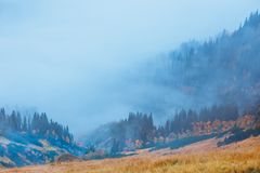 Foggy mountain landscape with clouds royalty free stock photos