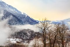 View of snow capped winter mountains. stock images