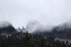Foggy Mountain Landscape. Foggy mountains at Snow Lake in Washington State Stock Photos